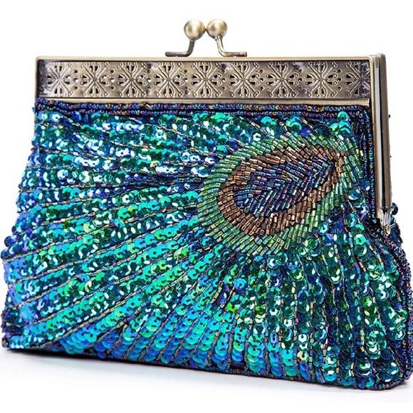 Handbags - Sequin Peacock Evening Purse